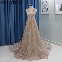 Sparkling Rose Gold Champagne Wedding Dress 2018 Sexy Halter Open back Chapel Train Luxury Wedding Gowns Real Photos