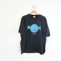 Vintage Hard Rock Cafe Tshirt. Paris novelty shirt. black tee shirt / XL