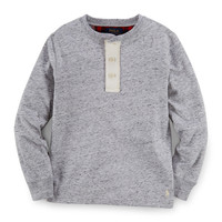 Long-Sleeve Thermal-Knit Henley Tee, Size 2-7,