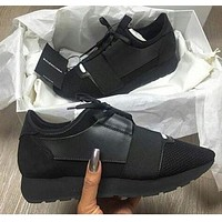 BaLenciaga Race Runners Fashion Women Men Casual Shoe Sneaker Pure Black I/A