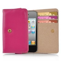 OOOUSE Pink Card Wallet Style Premium Leather Case Pouch with Credit Card / ID Slots for Apple iPhone 4s / 4 (all models), Android (AT&T, Verizon, Sprint)