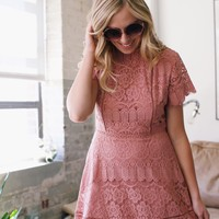 Ginger Lace Dress, Dusty Rose