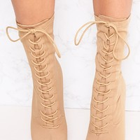 Mazy Nude Lace Up Sock Boots
