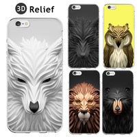 3D Relief Painting Geometric Graphic Animal Pattern Coque Fundas Hard Clear Case For iPhone 5 5S 6 6S 6Plus SE