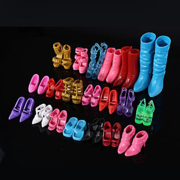 Mix 24pcs/12Pairs Shoes Boots For Decor Barbie Doll Toy Girls Dolls Accessories Play House Party Xmas Gift Random New Fashion