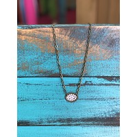 1N263BAB Small oval necklace w/ AB crystals