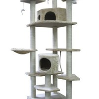 BestPet Cat Tree Condo Furniture Scratch Post Pet House, 80-Inch, Beige