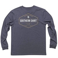 Trademark Badge Long Sleeve Tee Shirt in Indigo by The Southern Shirt Co.