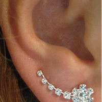 Sterling Silver Ear Sweep Pin Climber Minimal - Cuff Earring with clear CZ - PAIR - Flower