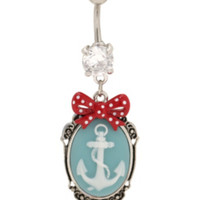 """14G 7/16"""" Steel Anchor Cameo Navel Barbell"""