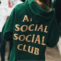 Anti social social club new autumn and winter plus velvet hood hooded sweater Green