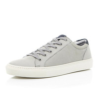 River Island MensGrey nubuck leather lace up sneakers