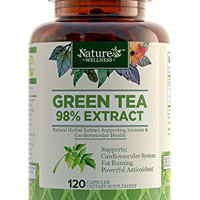 Green Tea Extract Supplement by Nature's Wellness, 120-Count | Max Potency EGCG + Polyphenol Catechins, Ultra Low Caffeine | All-Natural Antioxidants, Supports Healthy Weight Loss and Cardio Health