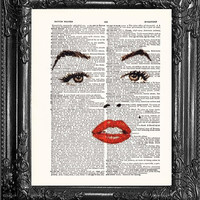 Face Of Marilyn Monroe-Dictionary Print Book Print Page Art-Upcycled Antique Book Page-Print On Dictionary Book Page-Buy 1 Get 1 Free