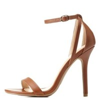 Cognac Single Sole Ankle Strap Heels by Charlotte Russe