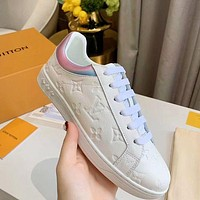 LV High Low Louis Vuitton Boots Embossed 5D laser colorful back Shoes White Laser