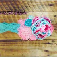 "Vintage Headband, For Baby Girls, Headband For Girls. ""Dandy Cotton Candy"" , Shabby Chic Lace Headband"