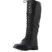 Lace-Up Knee-High Combat Boots