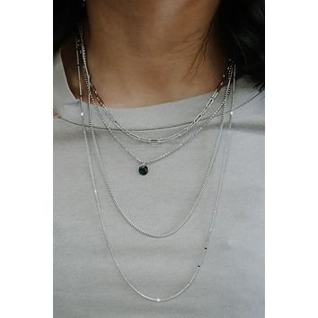 Layered In Love Necklace - Silver