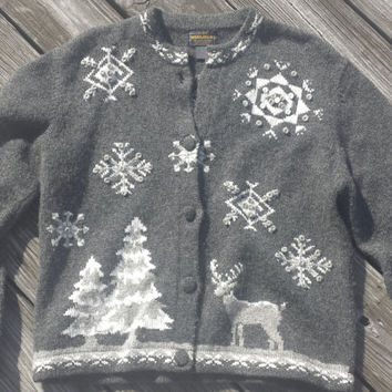 Vtg WOOLRICH Ugly Christmas Sweater - Gray Wool Sweater Cardigan SZ L