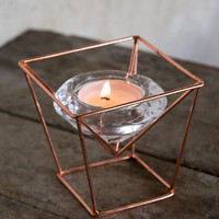 """Glass Tea Light Holder With Copper Stand 3.75"""""""