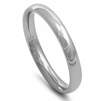 Unisex 3mm Engravable Comfort Fit Stainless Steel Wedding Band