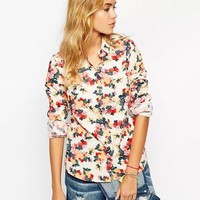 White Rose Print Long-Sleeve Buttons Collared Shirt