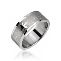 Kush Me - Brushed stainless steel band with polished leaf design men's ring
