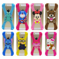 Universal Silicone Phone Frame Bumper 3D Cartoon Stitch Minnie kitty Bear case For Iphone 4 5 S 6 cover For Samsung Galaxy S5 S6