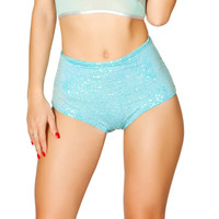 Teal Iridescent Sequin High Waist Shorts