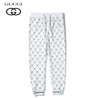 Gucci Simple casual versatile printed ribbed cotton trousers 2#