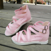 Summer Pink Leather Beach Slippers Stylish Sandals