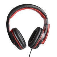HAVIT® HV-H611D Sleek Black with Red Accents 3.5mm Stereo Headphones with Microphone for Music, Skype, Video Conferencing(Easter Day Special)