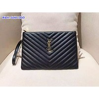 YSL stylish ladies' zigzag line briefcases are hot sellers of solid-color clutch bags Black+Gold LOGO