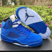 Air Jordan 5 Retro Raging Bull Fashion Couple Style Leather Sneakers