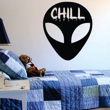 Alien Chill Head Design Outer Space Decal Sticker Wall Vinyl Art Home Room Decor