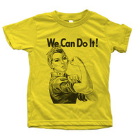Kids tshirt  Rosie the Riveter We Can Do it American Apparel Short Sleeve Crew Neck 6 color Available US 2 to US 12