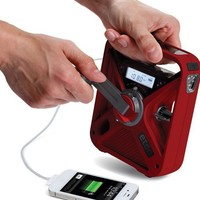 Eton FRX3 Hand Turbine NOAA AM/FM Weather Alert Radio with Smartphone Charger - Red (NFRX3WXR)
