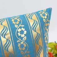 Flower and Ribbon Pattered Pillow Cover