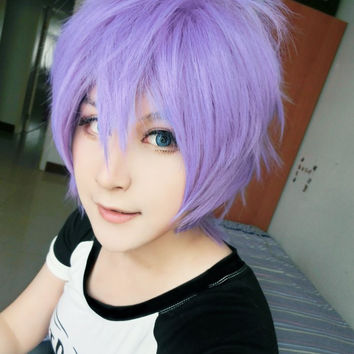 Hakkenden-Oriental eight different smell dogs--Inuzuka letter is 30CM short Fashion Wig Blue cosplay wig ,Colorful Candy Colored synthetic Hair Extension Hair piece 1pcs WIG-503A