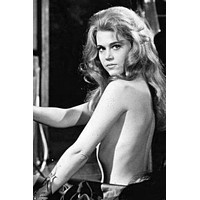 """Jane Fonda poster Metal Sign Wall Art 8in x 12in 12""""x16"""" Black and White"""