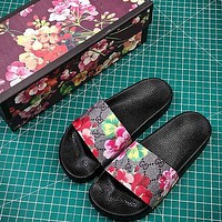 Gucci GG Blooms Supreme Flower Slide Sandals
