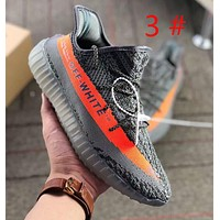 Adidas Yeezy Boost 350 & Off white Fashion new letter print sports Running women men shoes Gray