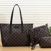 Louis Vuitton LV Women Leather Handbag Shoulder Bag Crossbody Purse Wallet Set Three Piece