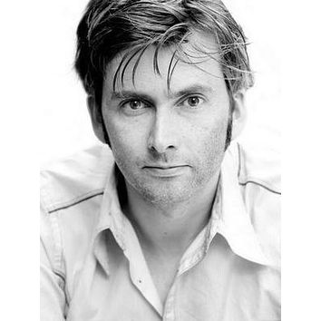 David Tennant Bw Portrait poster Metal Sign Wall Art 8in x 12in