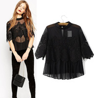 Women's Fashion Lace See Through Chiffon Patchwork Tops T-shirts [5013312644]