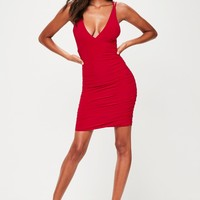 Missguided - Red Slinky Cross Back Ruched Side Bodycon Dress