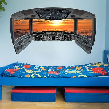 Airplane Cockpit Wall Mural | Sunset Clouds Airplane Window Decal - CP2