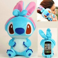 Authentic iPlush Plush Toy Cell Phone Case for Apple iPhone 4/4S (Blue Stitch)