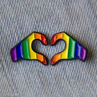 Rainbow LGBT Pride Heart Hands Enamel Pins - Set of Two